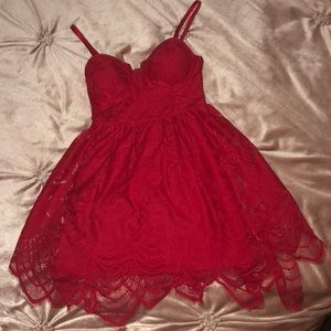 Mid thigh length red dress